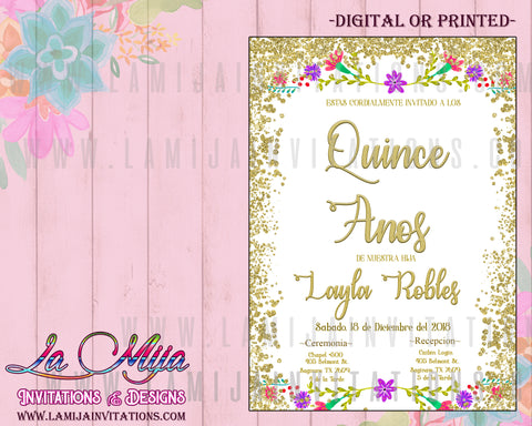 Quinceanera Invitations, Mexican Theme Quinceanera Invitations, Fiesta Quinceanera Invitations