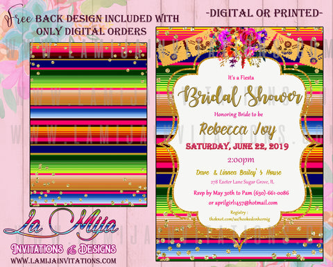 Mexican Bridal Shower Invitations, Fiesta Bridal Shower Invitations, Mexican Theme Bridal Shower, Serape Bridal, Mexican Party Bridal Shower