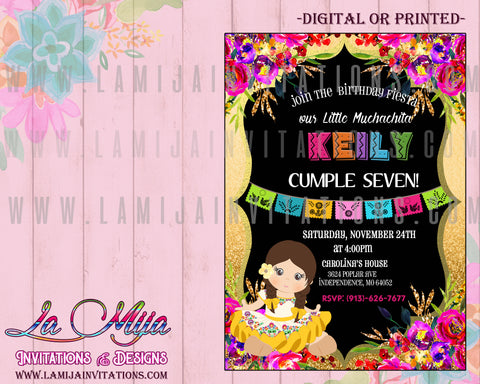 Mexican Birthday Invitations, Fiesta Birthday Invitations, Charra Birthday Invitations, Muchachita Birthday Invites