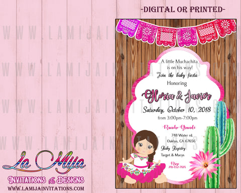 Fiesta Baby Shower Invitations, Mexican Baby Shower Invitations, CHarra Baby Shower Theme, Invitaciones Baby Shower Tema Mexicano, Muchachita Baby Shower Invites - Addi Creations