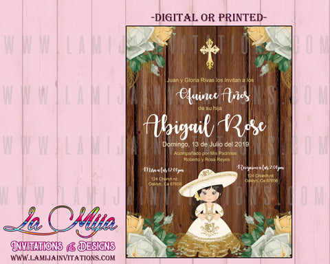 Quinceanera Invitations, Customized Item, Rustic Quinceanera Invites, Invitaciones Quinceanera, White and Gold Quince - Addi Creations
