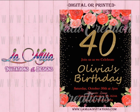 40th Birthday Invitations, Customized Item,  Forty Party Invites, 40th Party Invites, Invitaciones Cumpleanos 40 - Addi Creations