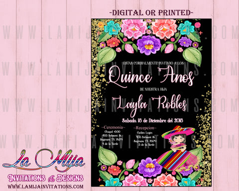 Quinceanera Invitations, Quince Anos Invites, Charra Quince Anos Invitations, Mexican Quinceanera Invitations - Addi Creations