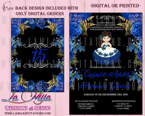 Quinceanera Invitations, Customized Item, Navy Blue Charra Quinceanera Invitations, Charra Theme Quince Anos Invites, Invitaciones de Quince Anos - Addi Creations