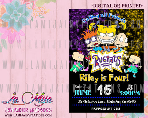 Rugrats Invitations, Rugrats Birthday Invitations, Rugrats Party Invites