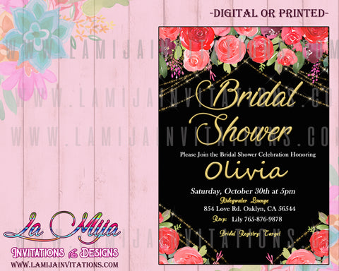 Fiesta Bridal Shower Inivtations, Floral Bridal Shower Invitations, Bridal Shower Invitations, Red Flowers Bridal Shower Invites, Invitaciones Despedida de Soltera