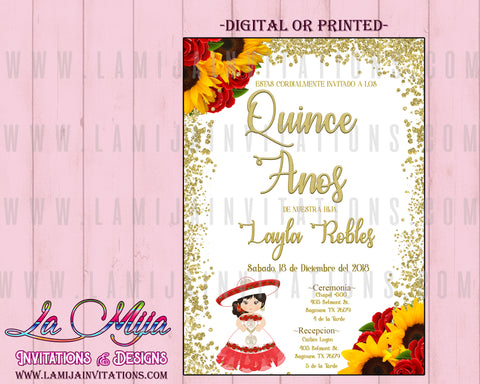 Quinceanera Invitations, Sun Flower Red Roses Quinceanera,  Mis Quince, Invitaciones Quinceanera, Charra Quinceanera, Mexican Theme Quince - Addi Creations
