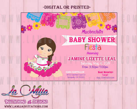 Baby Fiesta Invitations, Customized Item, Mexican Theme Baby Shower Invitations, Invitaciones Baby Shower, Charra Baby Shower, Muchachita, Senorita Baby Shower - Addi Creations