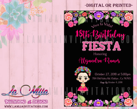 Frida Kahlo Invitations, Frda Kahlo Birthday, Customized Item, Invitaciones Frida Kahlo - Addi Creations