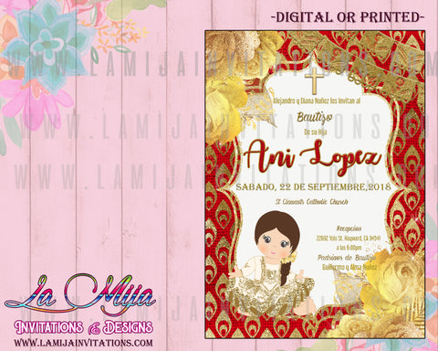 Charra Invitations, Customized Item, Charro Invitations, Charra Baptism Invitations, Red and Gold Charra Theme, Invitaciones Charro, , Invitaciones Charra, Invitaciones Baautizo Charro, Fiesta Charro