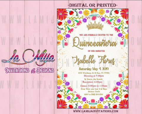 Quinceanera Invitations, Mexican Quinceanera Invitations, Invitaciones Quinceanera, Mexican Flower Quince Anos - Addi Creations