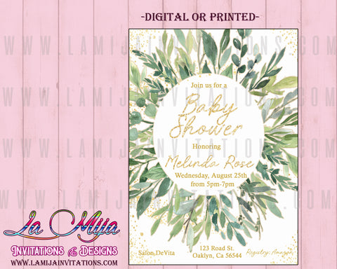 Baby Shower Invitations, Customized Item, Greenery Baby Shower Invitations, Greenery Party Invites, Leaf Them Baby Shower Invites, Eucalyptus Baby Shower Invites, Invitaciones Baby Shower - Addi Creations
