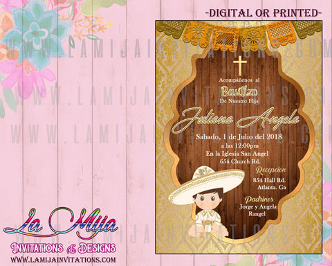 Charro Invitations,Customized Item,  Charro Baptism Invitations, Invitaciones Charro, Bautizo Charro Invitations, Mexican Theme Baptism