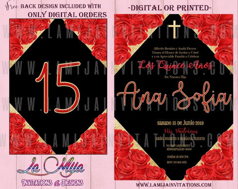 Quinceanera invItations, Customized Item, Invitaciones Quince Anos - Addi Creations