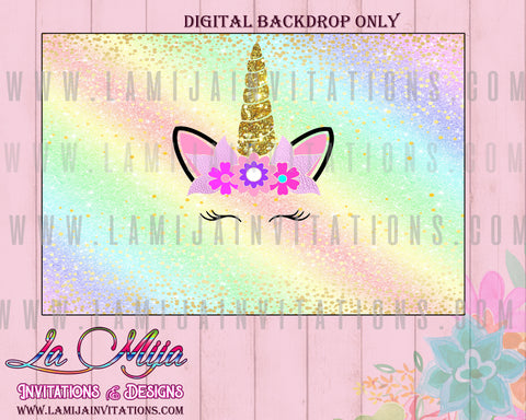 Unicorn Birthday Backdrop, Customized Item,  Unicorn Party Theme, Unicorn Digital Backdrop,Unicorn Backdrop, Unicorn Birthday