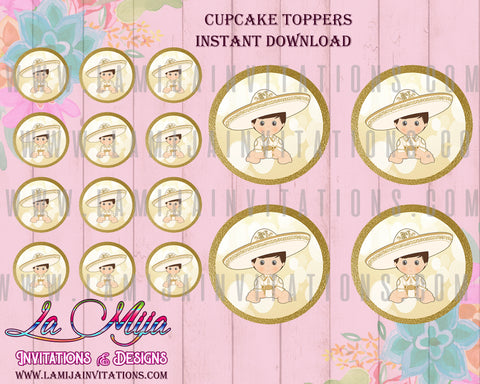 CCharro Theme Cupcake Toppers, Customized Item, Instant Download, Gold Charro Theme Printables, Gold Charro Invitations, Charro Bautizo Invitations