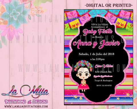 Frida Invitations, Frida Kahlo Invitations, Invitaciones Frida - Addi Creations