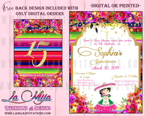 Quinceanera Invitations, Customized Item, Mexican Theme Quinceanera Invitations, Invitaciones Quinceanera - Addi Creations