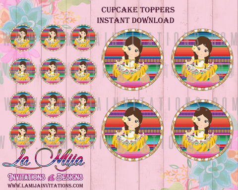 Charra Digital Cupcake Toppers, Customized Item, Baby Fiesta Invitations, Charra Invites, Instant Download, Charra Cupcake Toppers