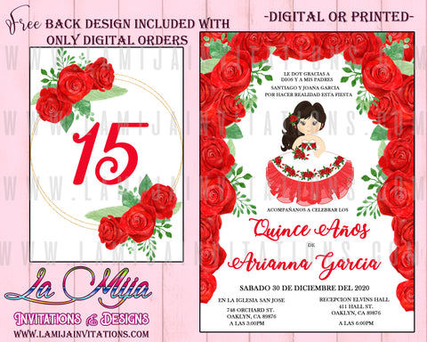 Quinceanera Invitations, Customized Item, Quinceanera Cahrra Invitations, Red Roses Quinceanera Invitations - Addi Creations