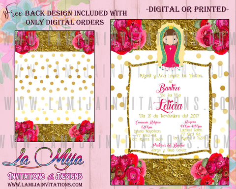 Virgencita Invitations, Virgen Invitations Virgencita Party Ideas, Virgencita Bautizo, Virgencita Baptism Invitations, Virgen de Guadalupe Invitations, Invitaciones Virgencita