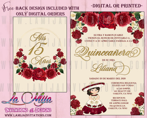 Quinceanera Invitations, Customized Item, Burgundy Quinceanera Invites, Charra Theme Quinceanera Invitations, Invitaciones Quince Anos - Addi Creations