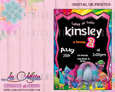 Trolls Invitations, Trolls Birthday Invitations, Trolls Party Invites, Trolls Party Ideas, Trolls Birthday Invites, Invitaciones Trolls - Addi Creations