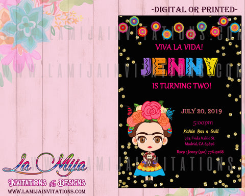 Frida Kahlo Invitations, Customized Item, Frida Kahlo Birthday Invitations, Frida Kahlo Invitaciones - Addi Creations