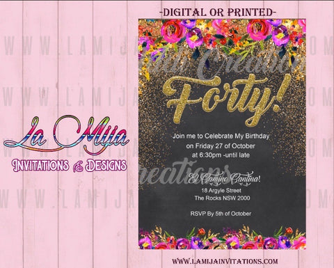 40th Birthday Invitations,Customized Item, 40th Party Invites, 40 year old Invitations, - Addi Creations