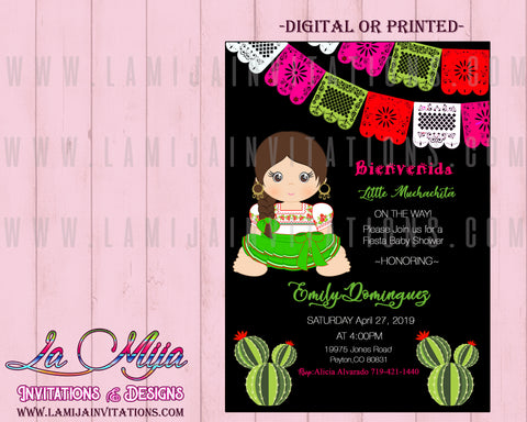 Baby Fiesta Invitations,Customized Item, Mexican Theme Baby Shower, Muchachita Baby Shower - Addi Creations