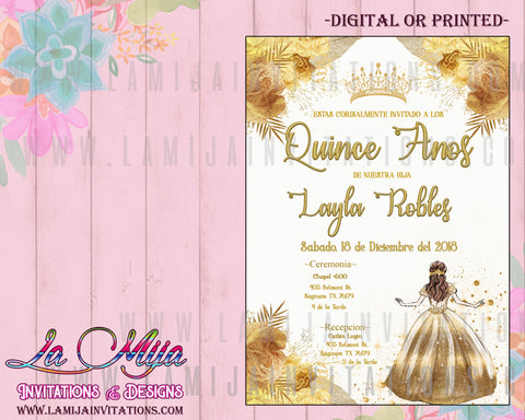 Quinceanera Invitations ,Customized Item, Invitaciones Quince Anos, Gold and White Quinceanera Invitations