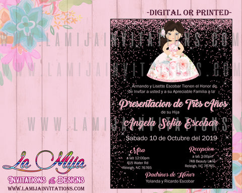 Tres Anos, Tres Anos Invitations, Customized Item, Presentacion de Tres Anos, Invitaciones Presentacion de 3 Anos, Mexican Birthday Invitations, Tres Anos Party - Addi Creations