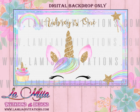 Unicorn DIGITAL Backdrop, Customized Item,  Unicorn Backdrop, Unicorn Party Backdrop