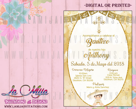 Charro Invitations, Customized Item, Charro Baptism Invitations, Bautizo Invitations, Invitaciones Charro Bautizo, Mexican Baptism Invitations, Spaniosh Baptism Invitations, 4, Invitaciones Charro