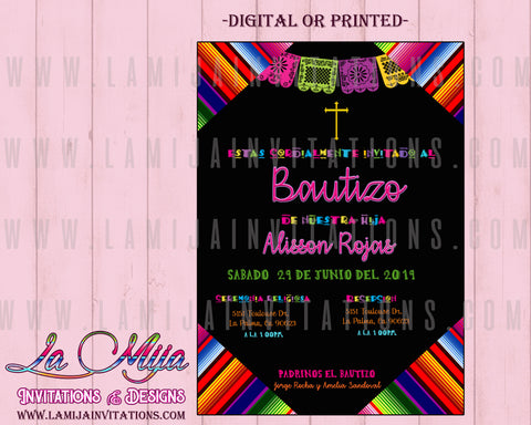 Mexican Baptism Invitations, Customized Item, Bautizo Mexicano Invitations, Invitaciones Bautizo, Serape Invitations - Addi Creations