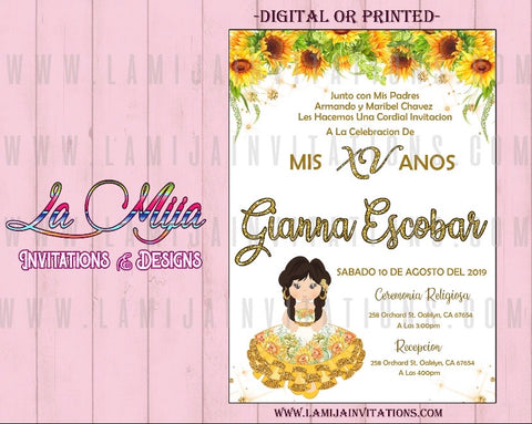 Quinceanera Invitations, Customized Item, SunFlower Quinceanera Theme Invitations, Charra Sunflower Invites - Addi Creations