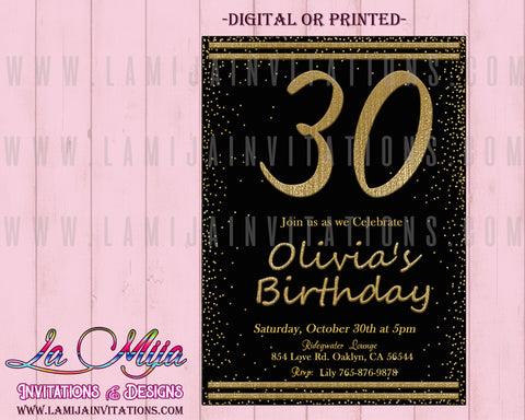 30th Birthday Invitations, Customized Item, 30th Party Invitations, 30th Party Invites - Addi Creations