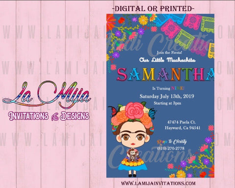 Frida Kahlo Invitations, Customized Item, Frida Kahlo Birthday Invitations,Invitaciones Frida Kahlo - Addi Creations