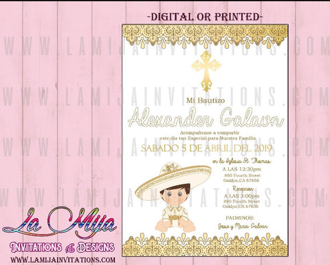 Bautizo Charro Invitations, Customized Item, Charro Baptism Invitations - Addi Creations