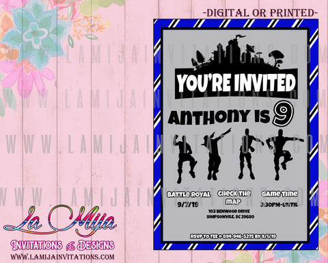 Fortnite Invitations, Customized Item, Fortnite Birthday Invites, Fortnite Party Invitations