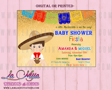 Charro Invitations, Customized Item, Charro Baby Shower Invitations, Charrito, Fiesta Baby Shower Invitations, baby Fiesta Invitations, Mexican Baby Shower Theme, Invitaciones Baby Shower - Addi Creations