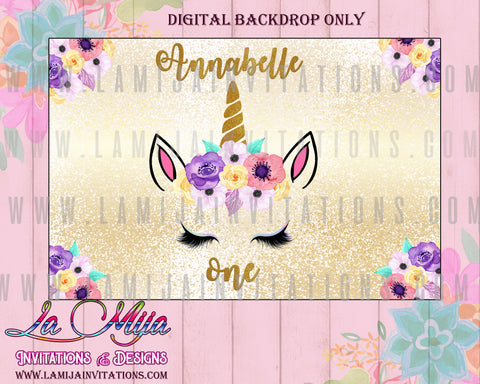 Unicorn Backdrop, Customized Item, Unicorn Digital Backdrop, Unicorn Birthday Backdrop, Unicorn Babyshower Theme, Unicorn Birthday Party