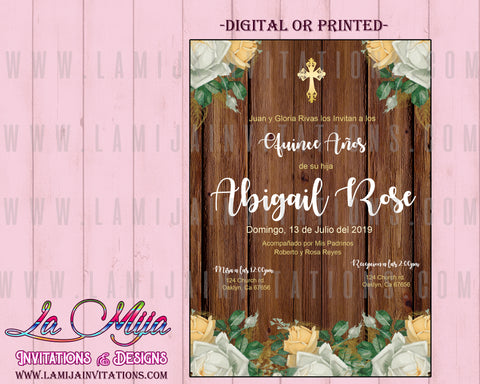 Quinceanera Invitations, Flower Quinceanera Invites, Customized Item, Rustic Quinceanera Invitations - Addi Creations