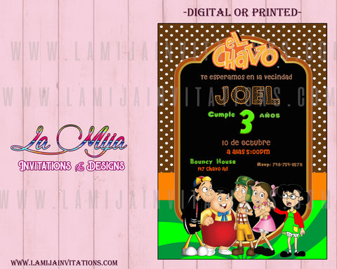 Chavo del ocho Invitations, Customized Item, Chavo del Ocho Birthday Invitations, Chavo del ocho, Chavo del Ocho Party Invites, 19,Invitaciones Chavo del Ocho