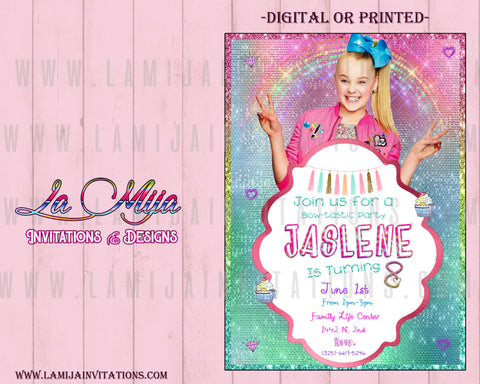 Jojo Siwa, Jojo Siwa Birthday Invitations, Customized Item,Jojo Siwa Invitations, Invitaciones Jojo Siwa, 22, Jojo Siwa Party Ideas - Addi Creations