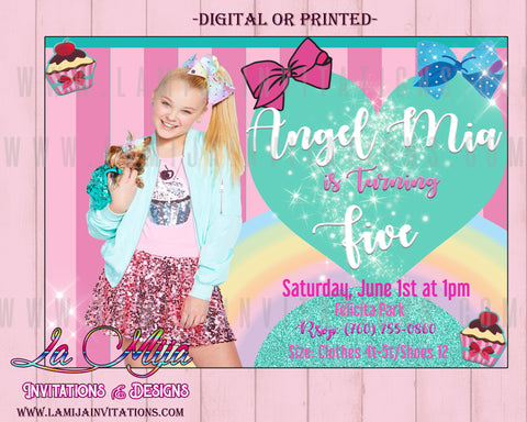 Jojo Siwa Birthday, Customized Item,  Jojo Siwa Birthday Ideas, Jojo Siwa Invitations, Jojo Siwa Birthday Invitations, Jojo Siwa Theme - Addi Creations