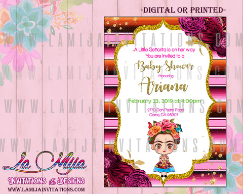 Frida Kahlo Baby Shower Invitations, Customized Item, Frida Kahlo Invitations, Invitaciones Frida Kahlo