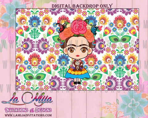 Frida Kahlo Backdrop, Customized Item, Frida Kahlo Birthday Backdrop, Frida Kahlo Party,Invitations