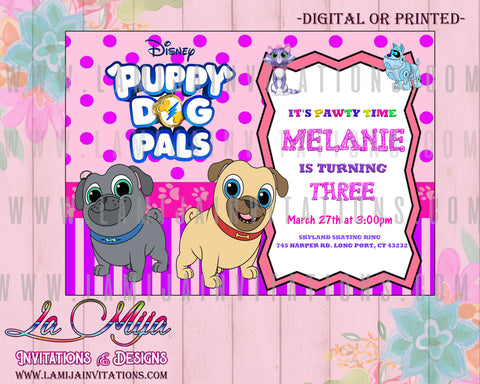 Puppy Dog Pals Invitations, Puppy Dog Pals Birthday Invitations, Puppy Dog Pals Party Invites