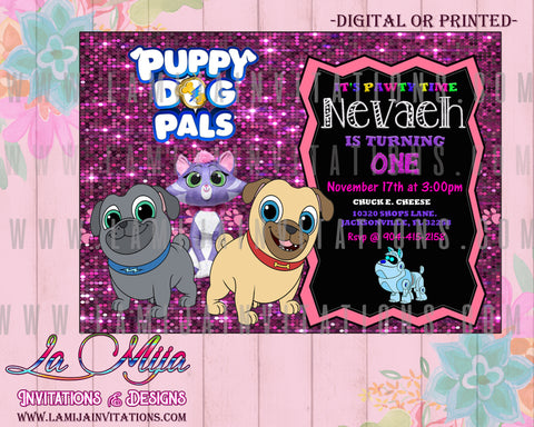 Puppy Dog Pals Invitations, Puppy Dog Pals Birthday Invitations, Puppy Dog Pals Girl Invitations